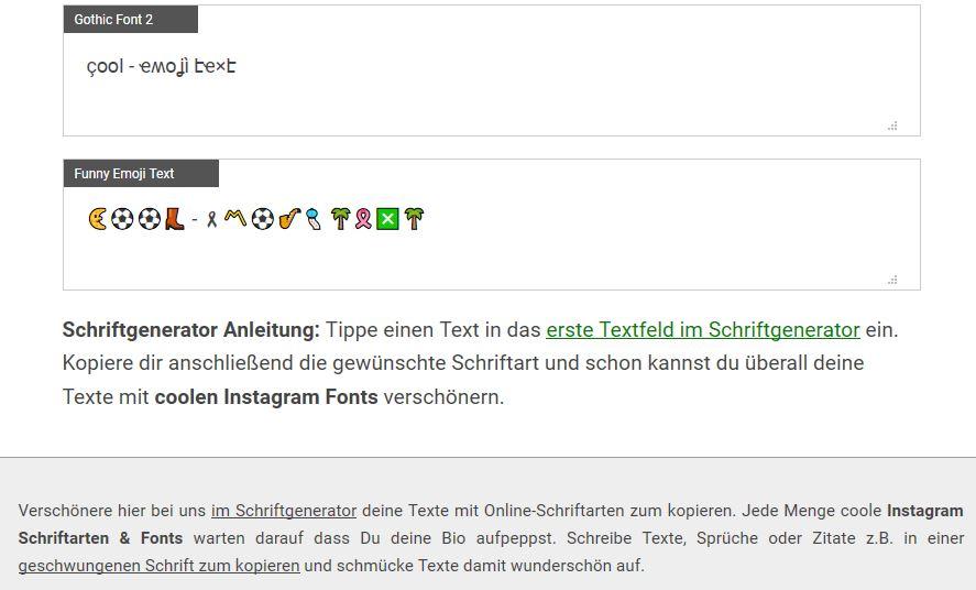 Instagram Schriftarten mit Emoji Text dank Unicode