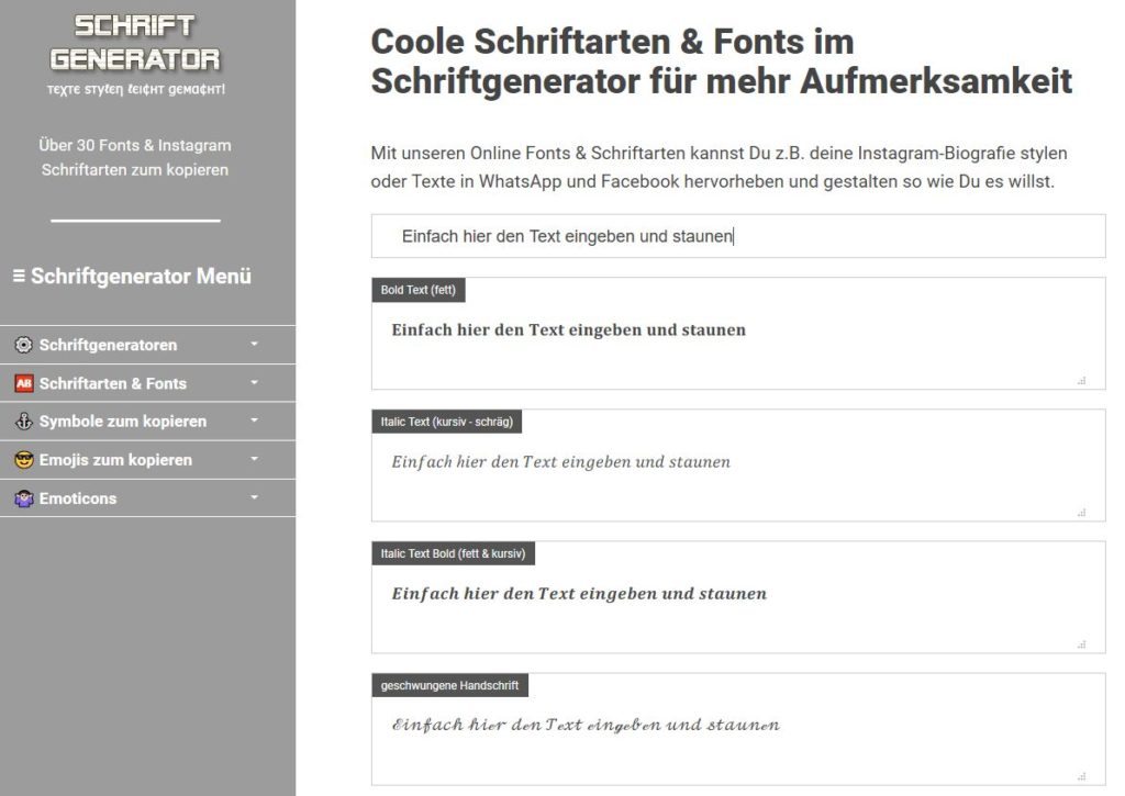 Der Schriftgenerator von https://schrift-generator.com