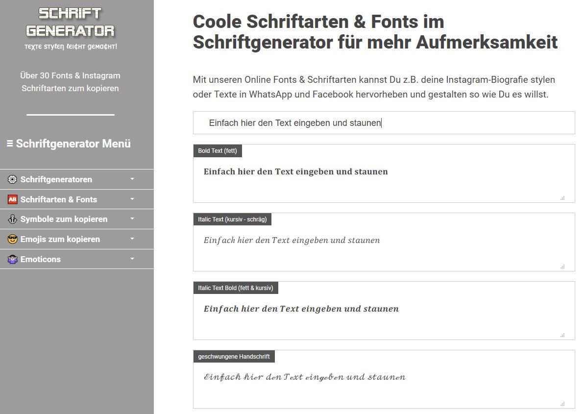 Mit Coolen Fonts Instagram Schriftarten Einfach Online